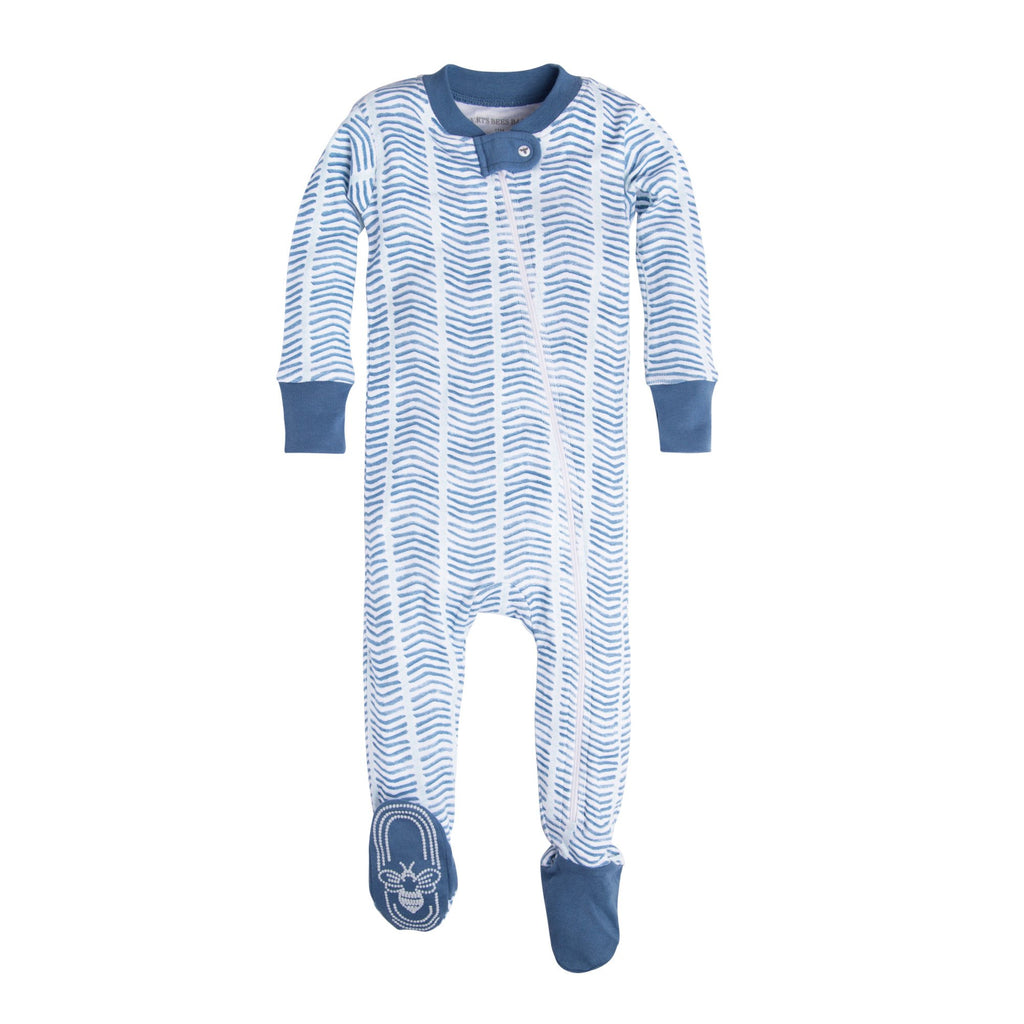 BE LOVE kids organic cotton blue chevron pajamas