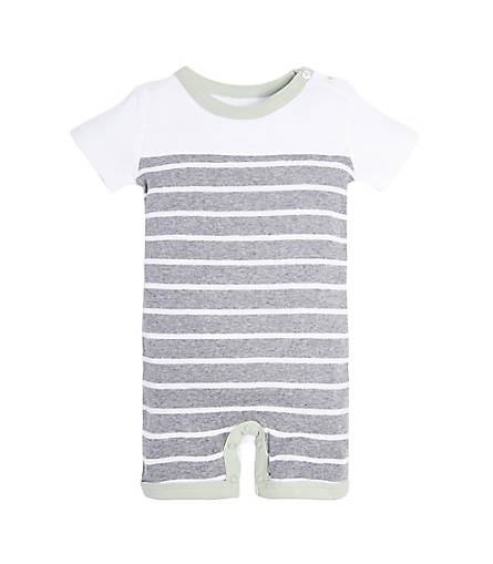 organic cotton grey and white stripped baby romper BE LOVE kids