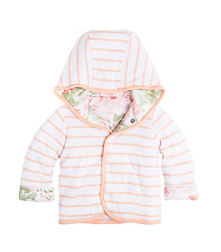 8e6c7dbfd Organic Cotton Reversible Hooded Floral Baby Jacket