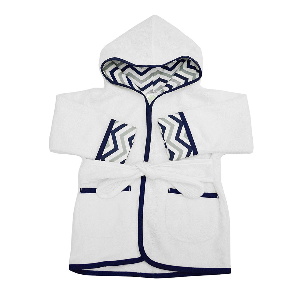 organic cotton baby bath robe navy