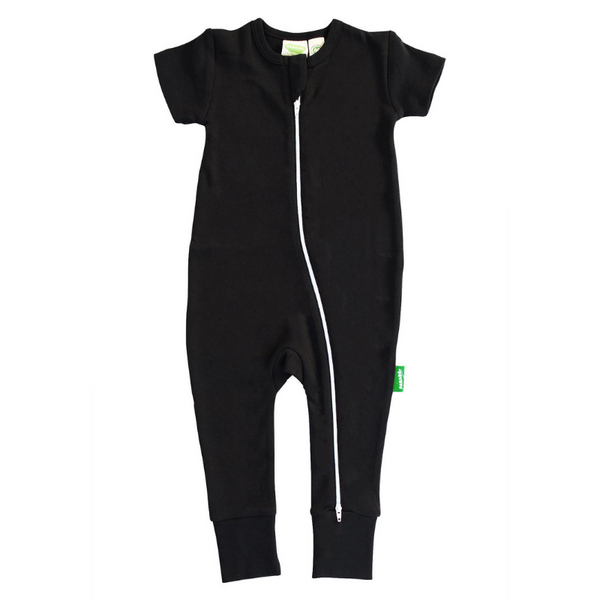 organic cotton black baby romper
