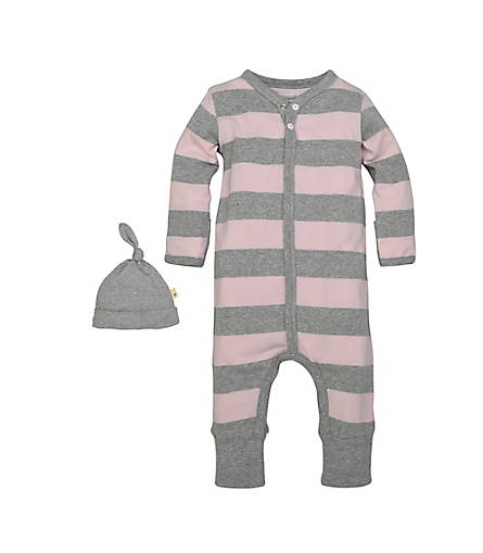 organic cotton baby coverall pink & grey with hat BE LOVE kids