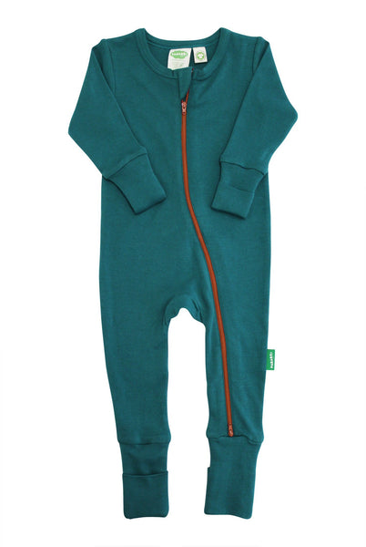 BE LOVE kids organic cotton teal baby romper