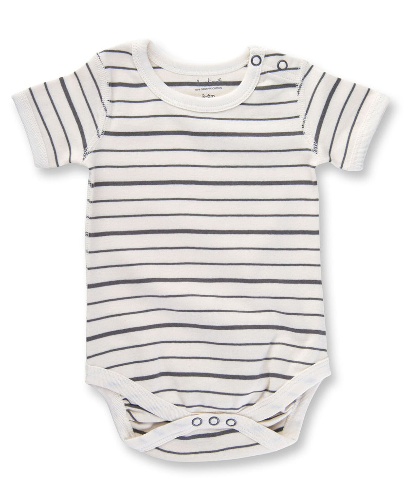 organic cotton short sleeve grey and white striped baby bodysuit BE LOVE kids