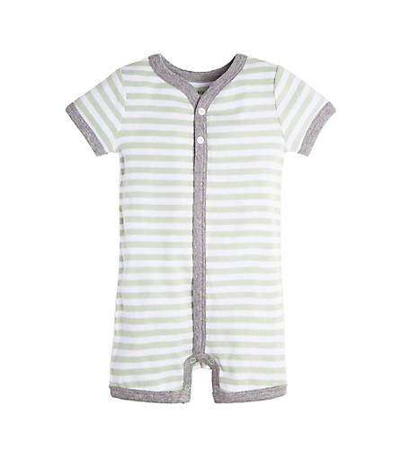 organic cotton green and white stripes romper BE LOVE kids