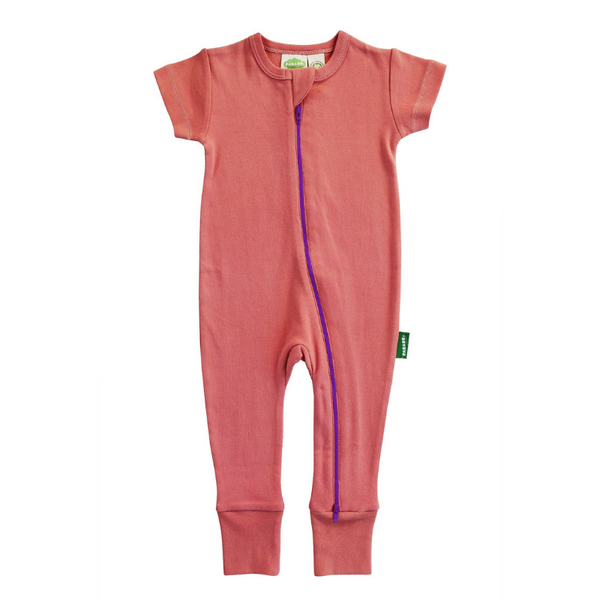 organic cotton coral baby romper BE LOVE kids