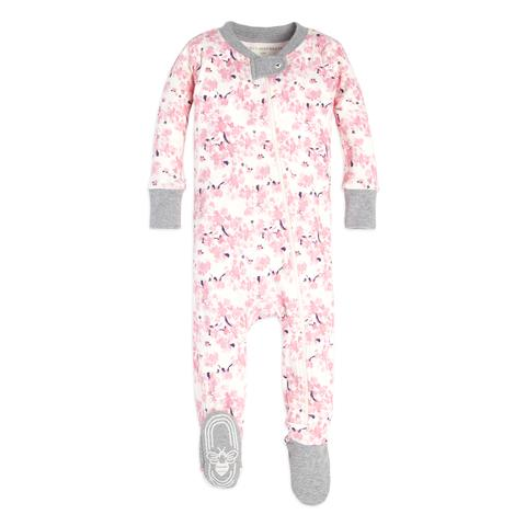 organic cotton baby sleeper pink & grey flowers BE LOVE kids