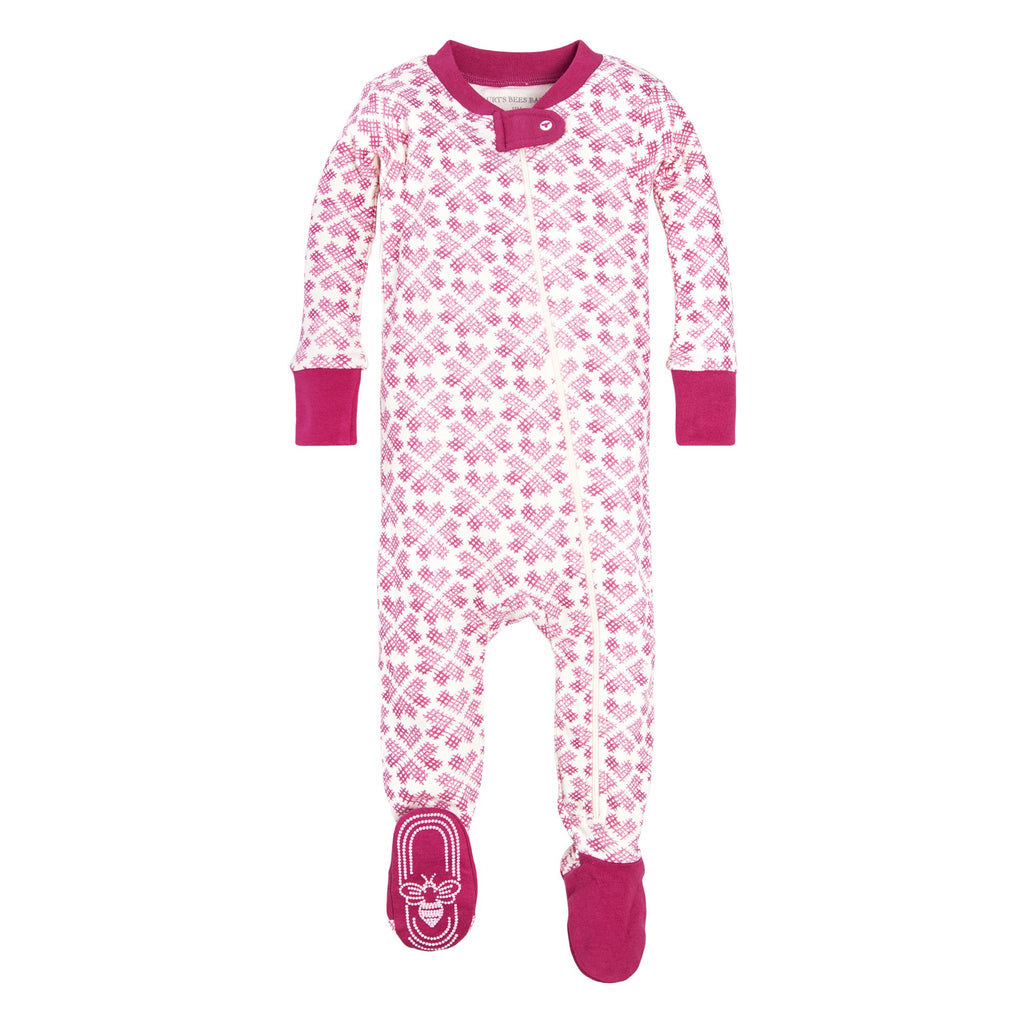 organic cotton pink hearts baby sleeper BE LOVE kids