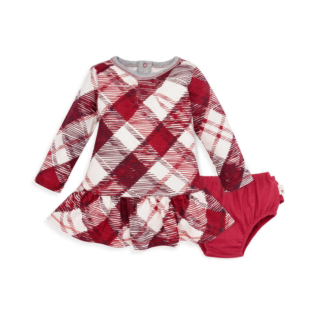 organic cotton baby holiday red buffalo plaid dress BE LOVE kids