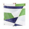 organic cotton baby swaddle blanket green & blue color block BE LOVE kids