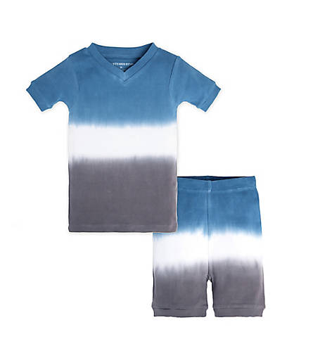 organic cotton toddler blue and grey pajamas BE LOVE kids