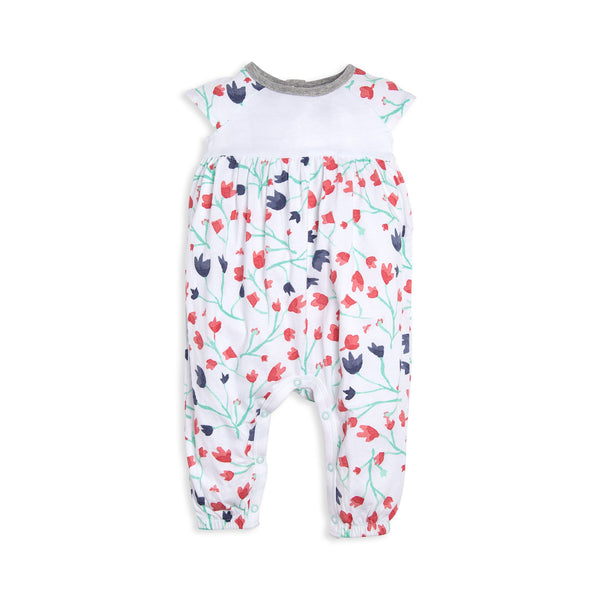 organic cotton white floral pants baby romper BE LOVE kids