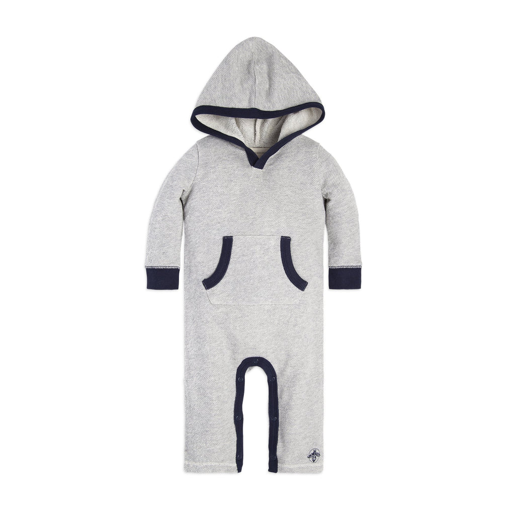 organic cotton grey hooded romper BE LOVE kids