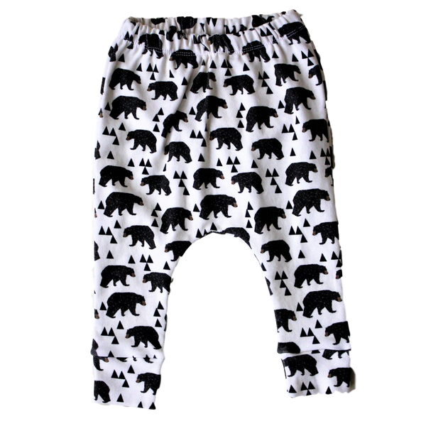 organic baby harem pants bear print BE love kids