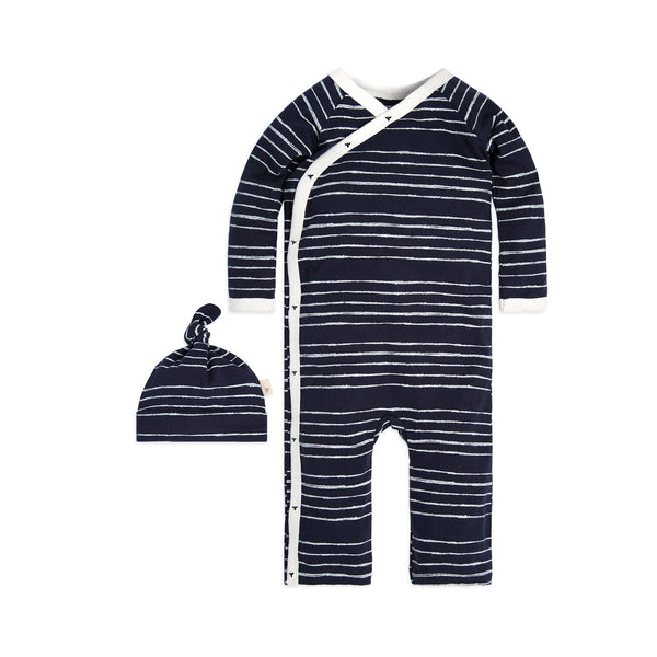 organic cotton kimono romper with hat navy BE LOVE kids