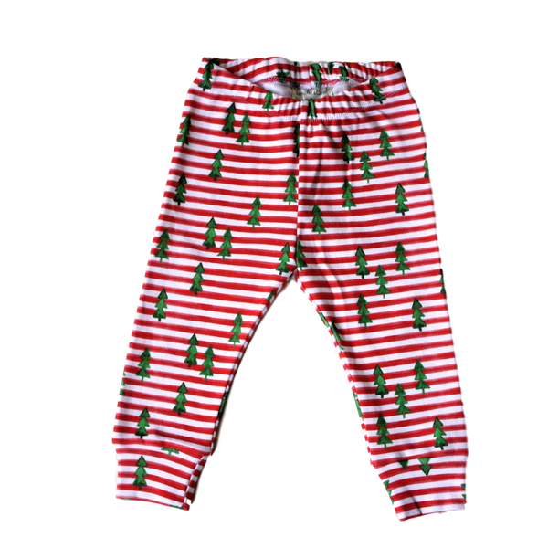 organic baby leggings holiday red & white striped with trees BE love kids
