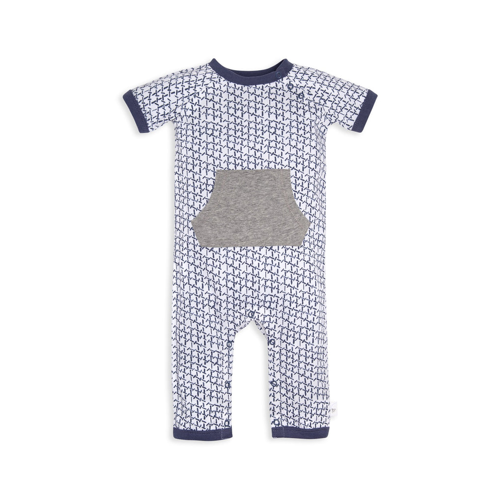 Organic Baby Jumpsuit Blue & Grey Kangaroo Pocket