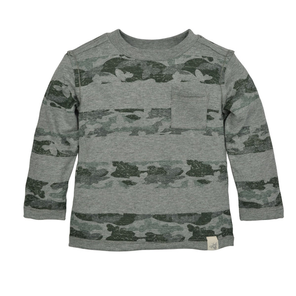 organic long sleeve green camo tee