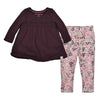 organic long sleeve tee maroon and organic legging set
