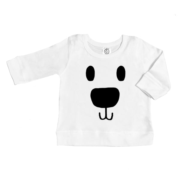 organic cotton long sleeve polar bear face BE LOVE kids