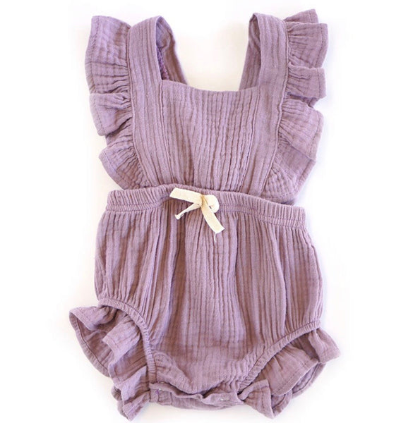 baby romper purple flutter sleeve BE LOVE kids
