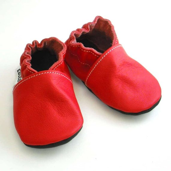 red leather baby booties BE LOVE kids d96579cfadb5