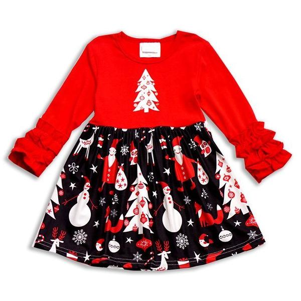 Toddler Red & Black Reindeer Fox Holiday Dress