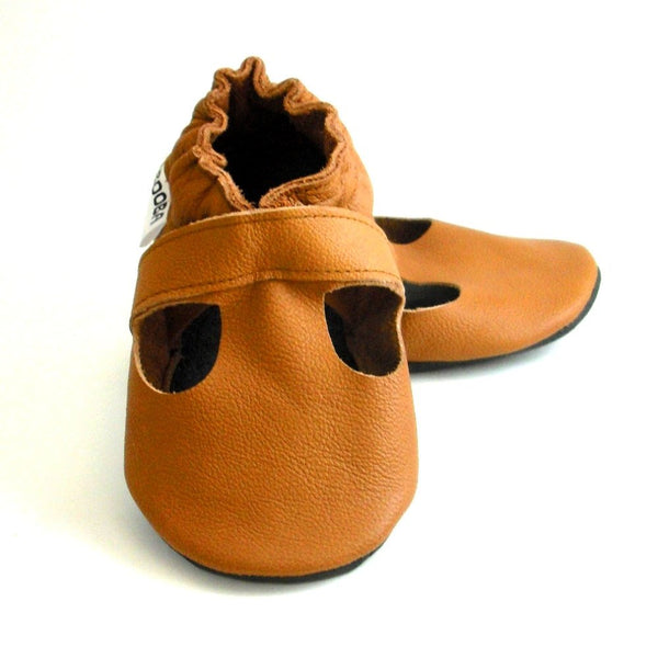 BE LOVE kids mary jane tan baby booties