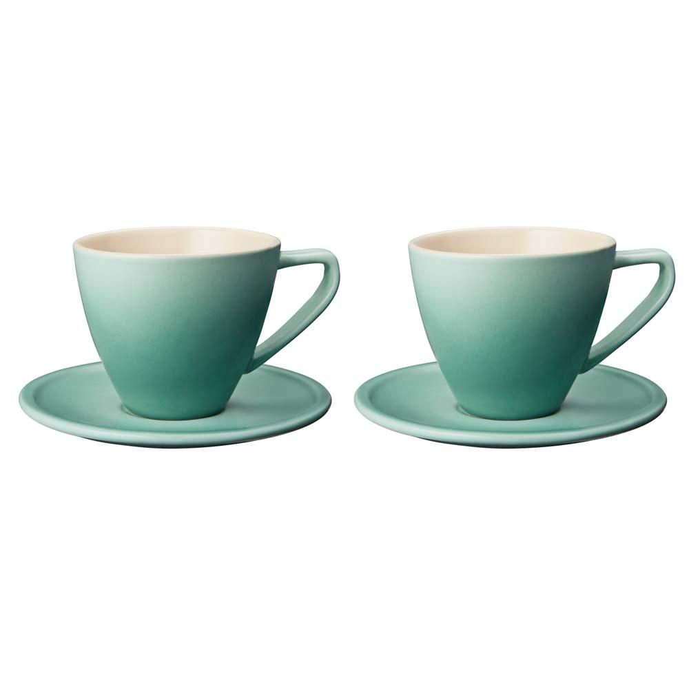 Le creuset stoneware minimalist cappuccino cup saucer set of 2 kitchen smart