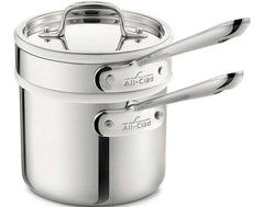 All Clad Stainless D3 2 QT (1.8L) Saucepan with Porcelain Double Boiler Insert - Kitchen Smart
