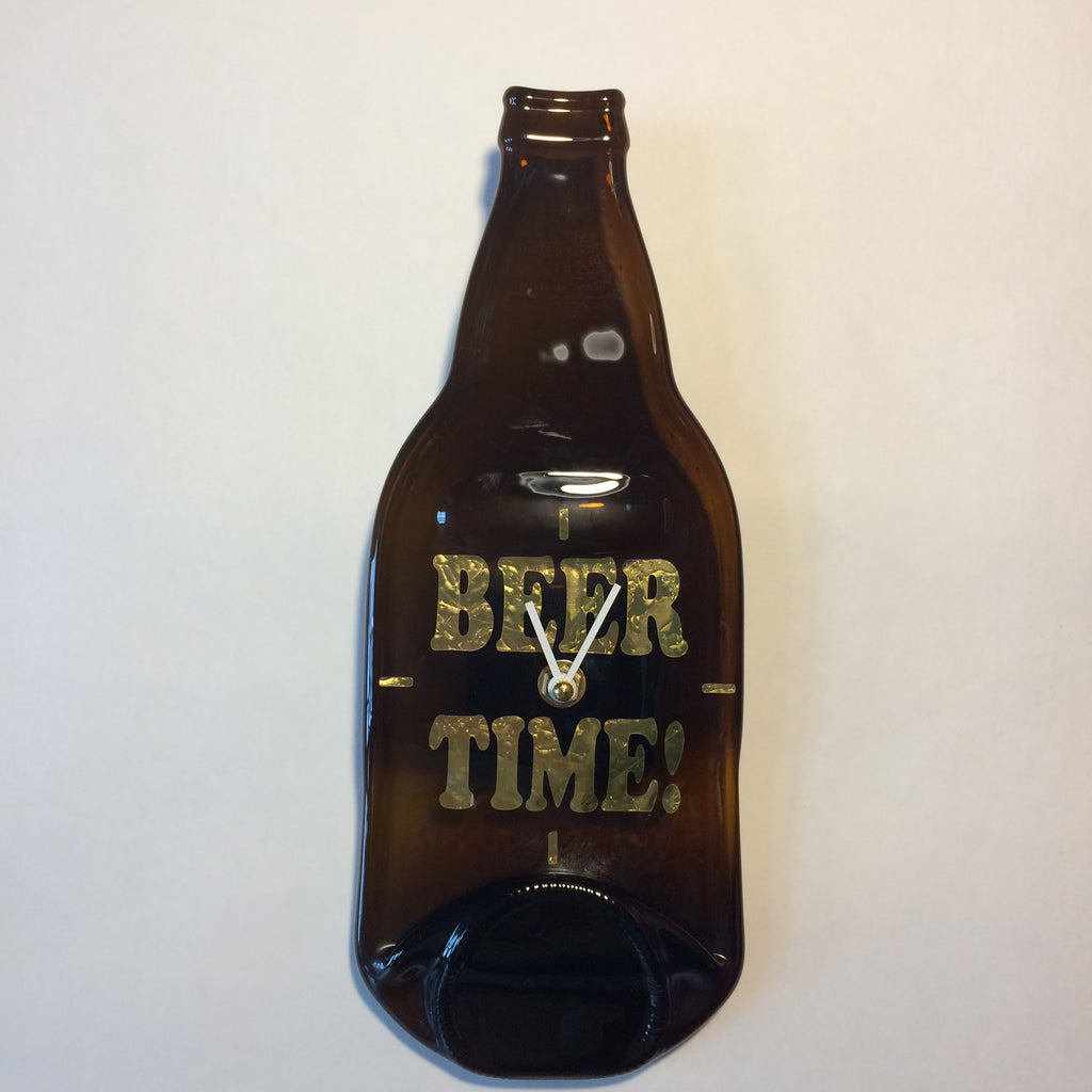 Beer Time - Wall Clock  - Upcycled Bottles
