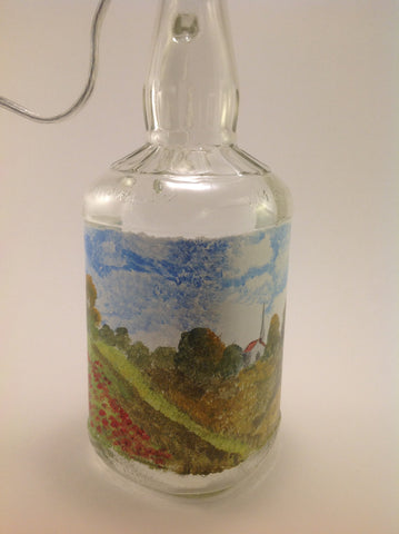 Table Lamp - Hand painted Landscape with Poppies on J.B. Bottle