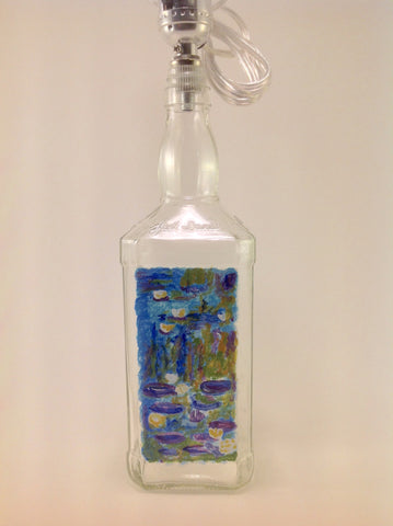 Table Lamp - Hand Painted Landscape with Water Lilies on J.D. Bottle