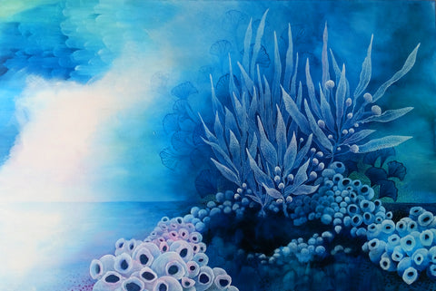 60 x 90 cm abstract painting Blue turquoise white seaweed and barnacle inspired created by Australian Artist Rebecca Coulter