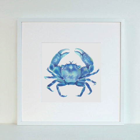 Blue Crab watercolour Art Print Hamptons Style Art work for beach shack style Luxe