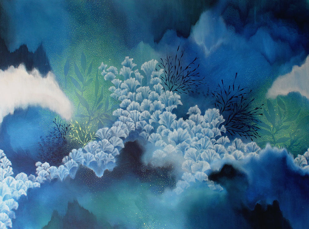 large Abstract Painting Indigo white, blue and green inspired by Coral Spawning on the Great Barrier Reef. Created by Australian Artist Rebecca Coulter