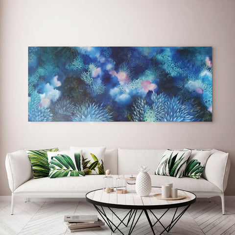 Indigo Blue Pinl and turquoise original Painting inspired by night on the reef created by Rebecca Coulter in situ in living room