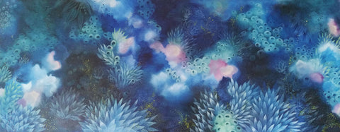 Large Original Painting on canvas indigo Blue pink and pale blue inspired bu night time on the Reef created by Australian Artist Rebecca Coulter ArtistaStyle