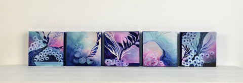 Collection of five small scale square artworks pink magenta and dark blue depicting imaginary seabeds.