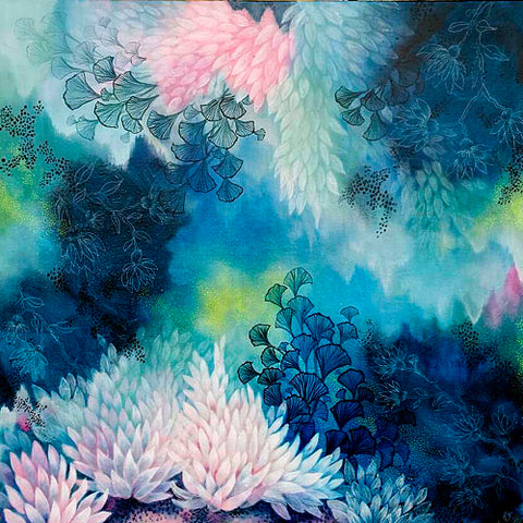 Blue Pink white and yellow magical realism underwater reef painting created by Rebecca Coulter
