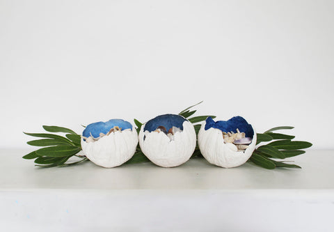 individual Barnacle bowls with blue interiors created by Rebecca Coulter of ArtistaStyle