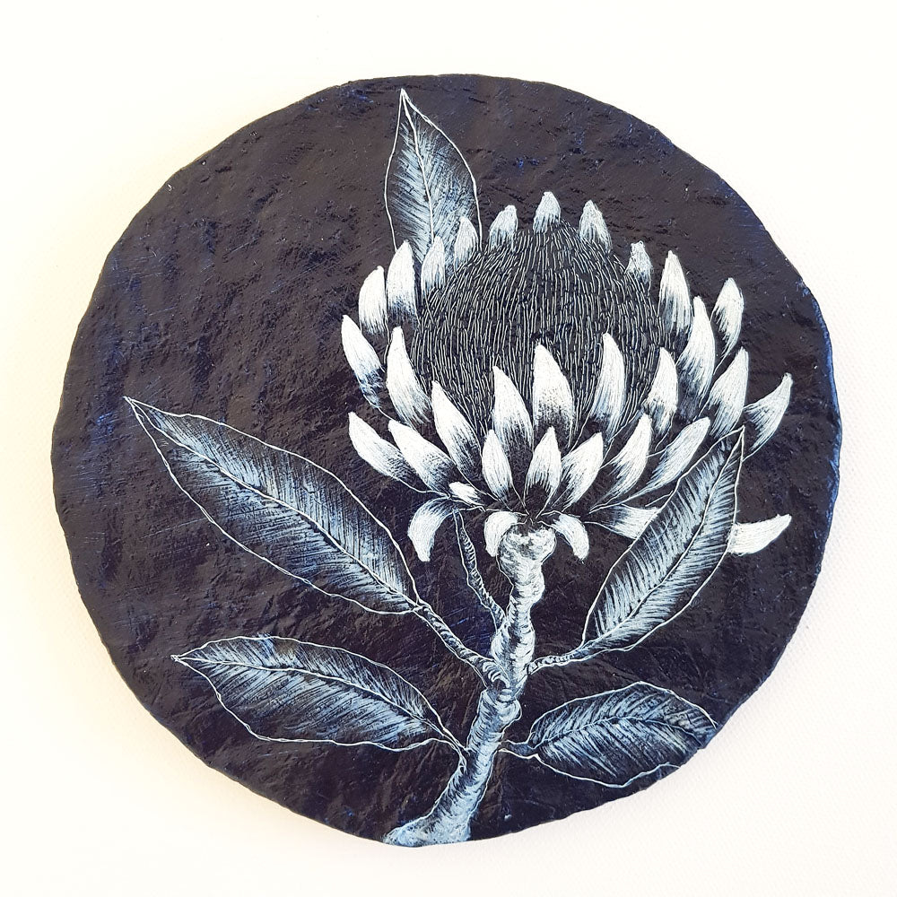 Navy Blue white porthole painting inspired by Australian Protea wildflowers. Original one of a kind artwork