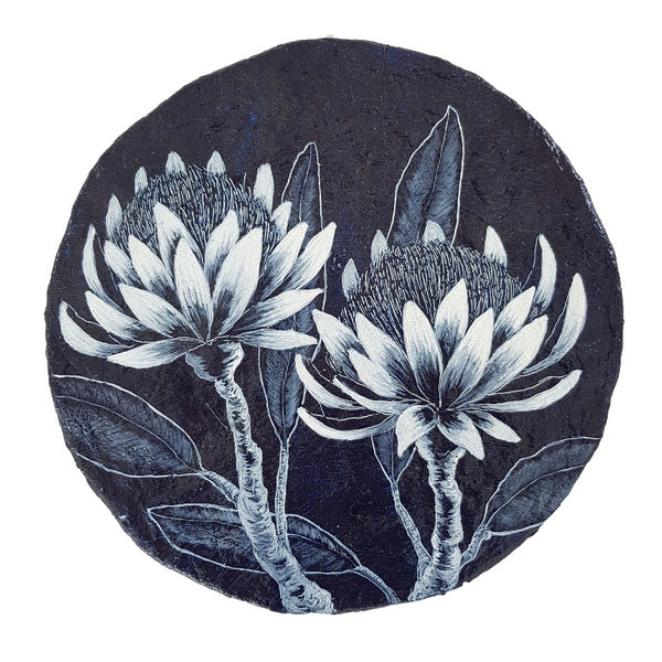 An original painting inspired by Protea wildfowers in blue and white on paper porthole.  Original one of a kind art created by Rebecca Coulter
