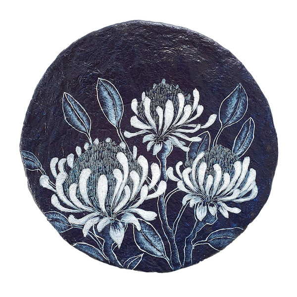 An original painting inspired by Waratah wildflowers in blue and white on paper porthole. Original one of a kind art created by Rebecca Coulter