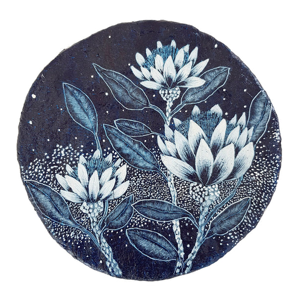 An original painting inspired by an Australian Paper wildfowers and flowering gums depicted in blue and white paint on paper porthole.  Original one of a kind art created by Rebecca Coulter