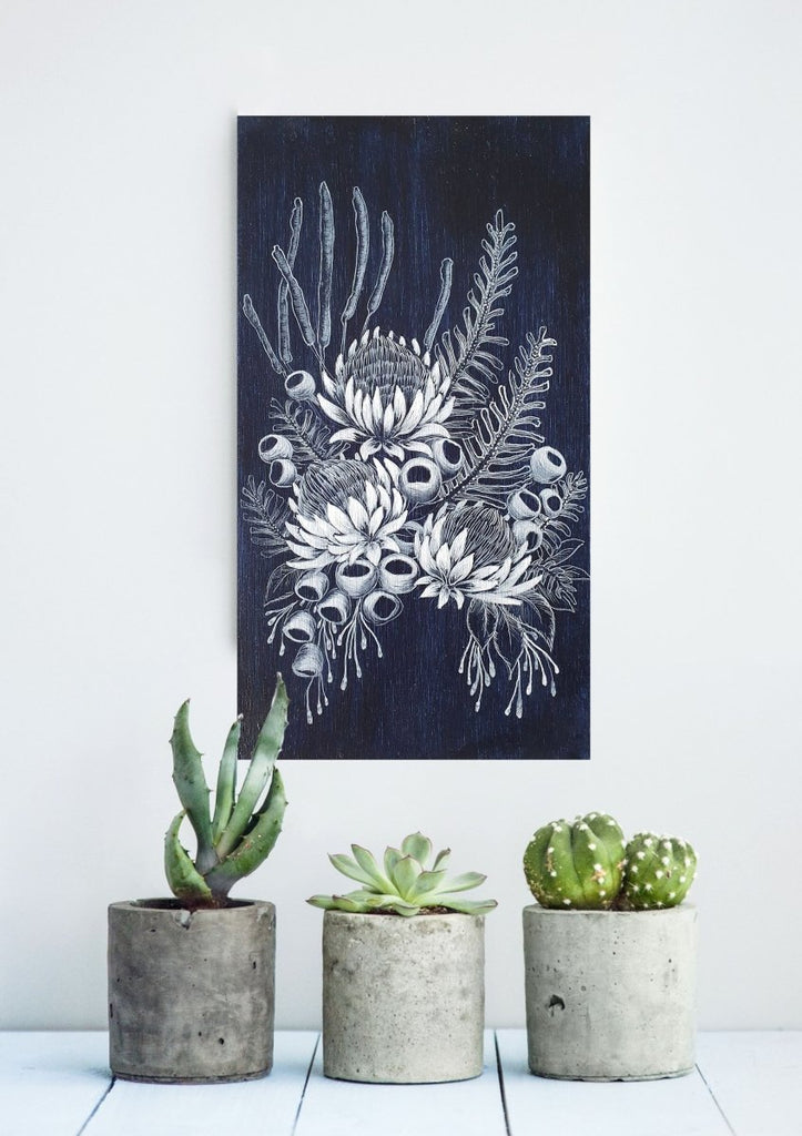Australian Wildflower Bouquet Woodblock Painting Indigo Blue White 14 x 25cm No 17 - Artista Style