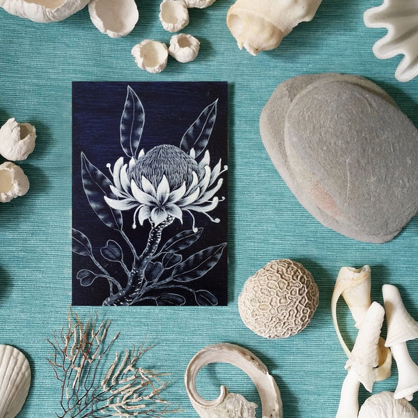 Australian wildflower painting Indigo Blue White woodblock painting Original Australian Art - Artista Style