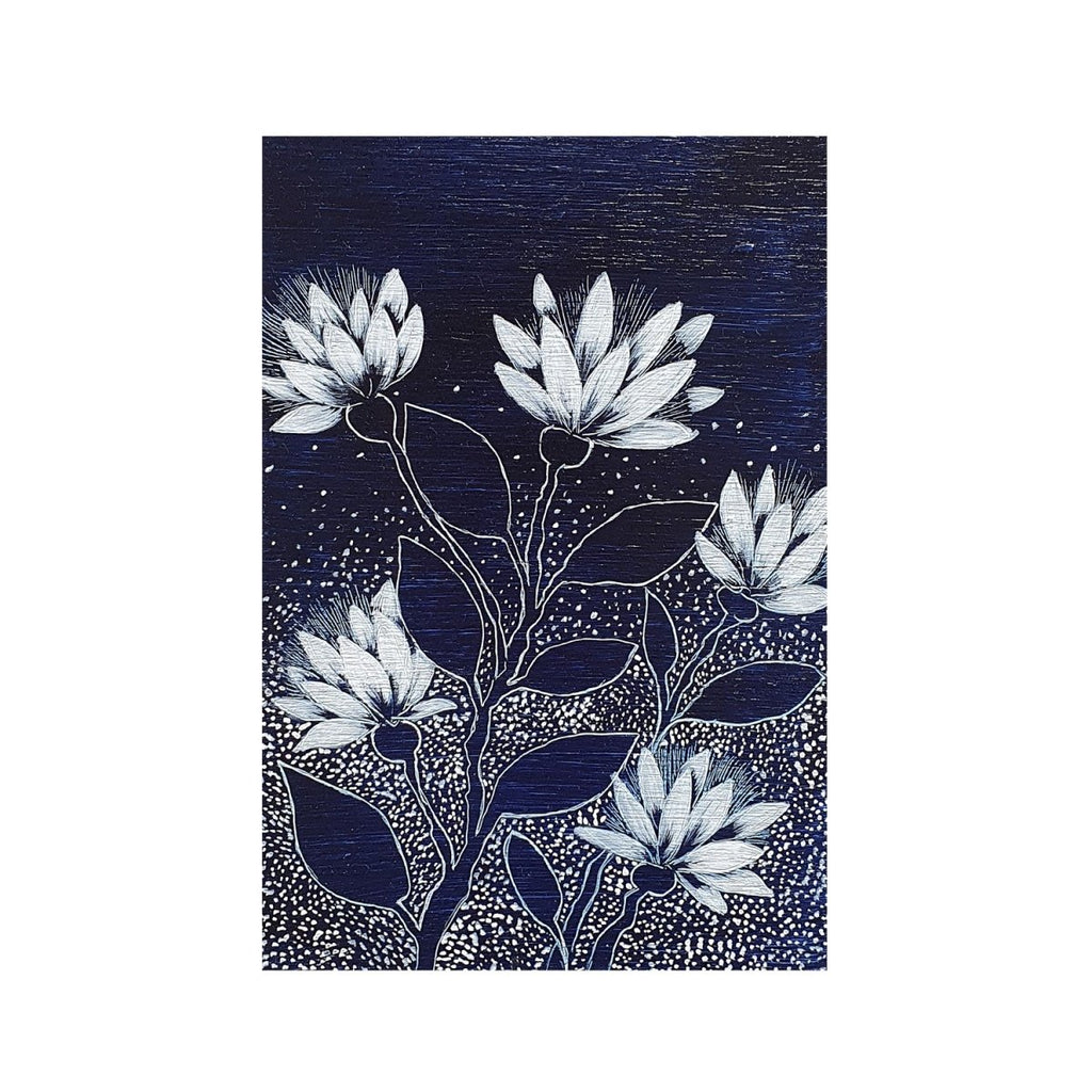 Australian wildflowers Dark Blue White woodblock painting Original one of a kind Australian Art - Artista Style