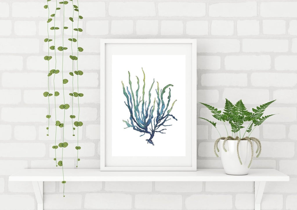 Blue Green Seaweed Watercolor Painting Archival Art Print Nautical Art Hamptons Style - Artista Style
