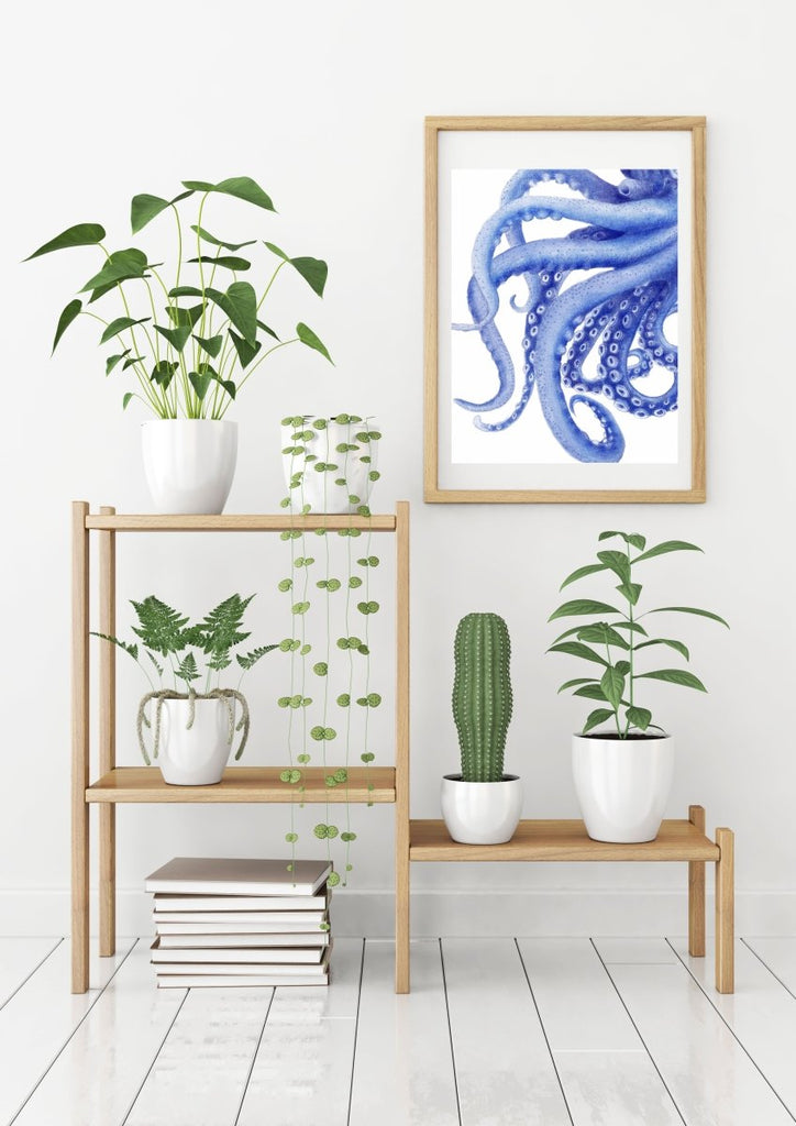 Blue Octopus Watercolor Illustration Archival Art Print 'Tentacles' Coastal Decor Artwork - Artista Style